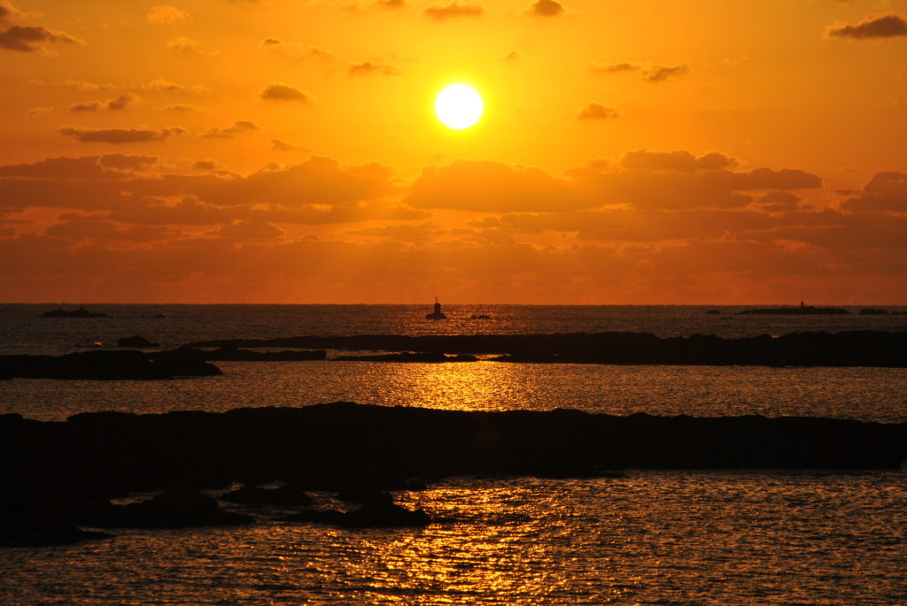 魚貫・黒石の夕陽